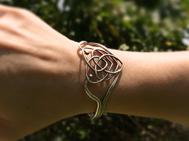 Celtic Motherhood Knot Braclet in Raw Silver