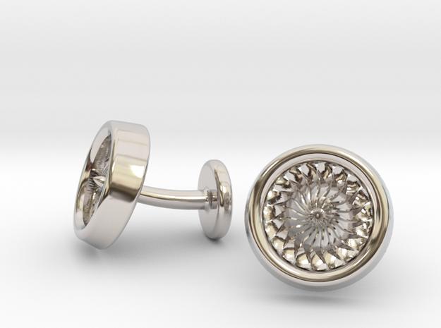 Jet Engine Turbine Cufflinks in Rhodium Plated Brass