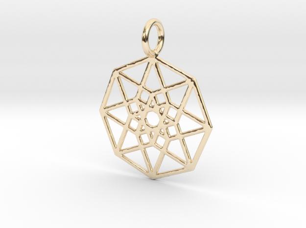 2D Hypercube 29mm in 14k Gold Plated Brass