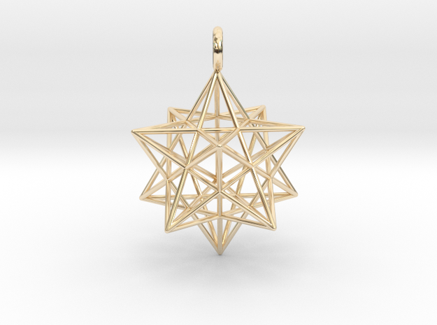 Stellated Dodecahedron - 2 sizes - 23mm & 31mm in 14k Gold Plated Brass: Medium