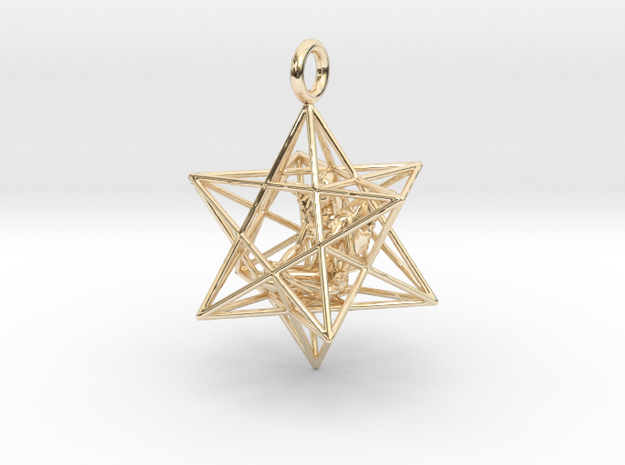 Angel Starship Stellated Dodecahedron w window 30m in 14k Gold Plated Brass
