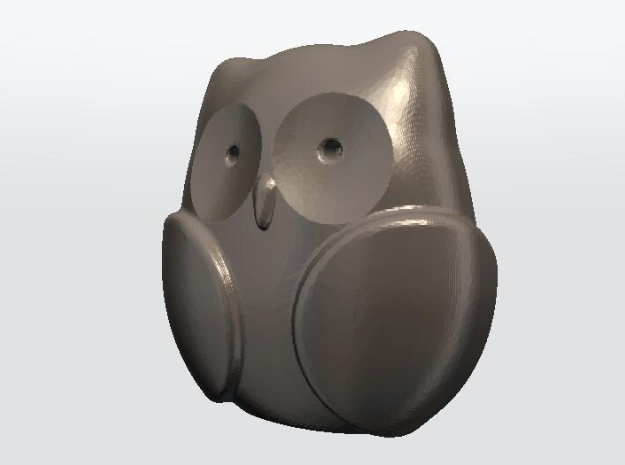 Pocket owl with ears in Polished Bronzed-Silver Steel