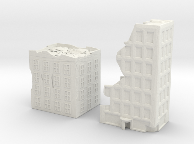 Residential Towers - Ruins in White Natural Versatile Plastic