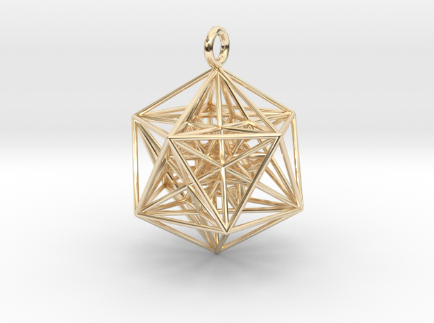 Nested Icosa Dodeca Icosa - 35mm in 14k Gold Plated Brass