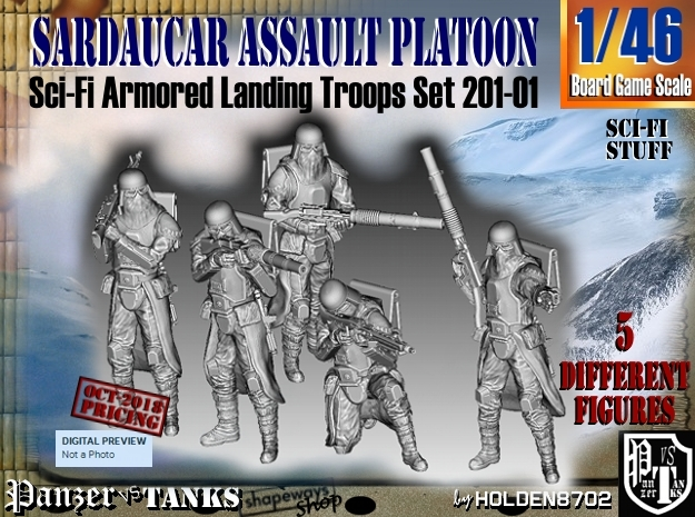 1/46 Sci-Fi Sardaucar Platoon Set 201-01 in Smooth Fine Detail Plastic