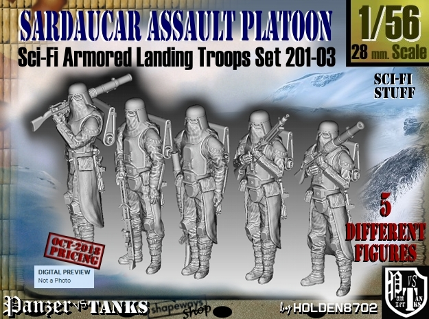 1/56 Sci-Fi Sardaucar Platoon Set 201-03 in Smoothest Fine Detail Plastic