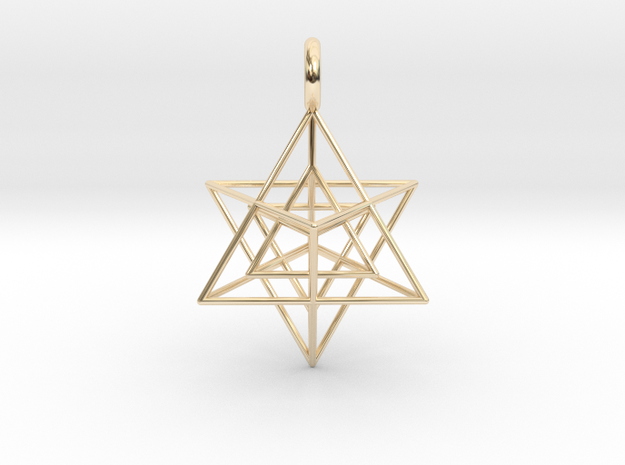 Star Tetrahedron inside Star Tetrahedron 28mm in 14k Gold Plated Brass