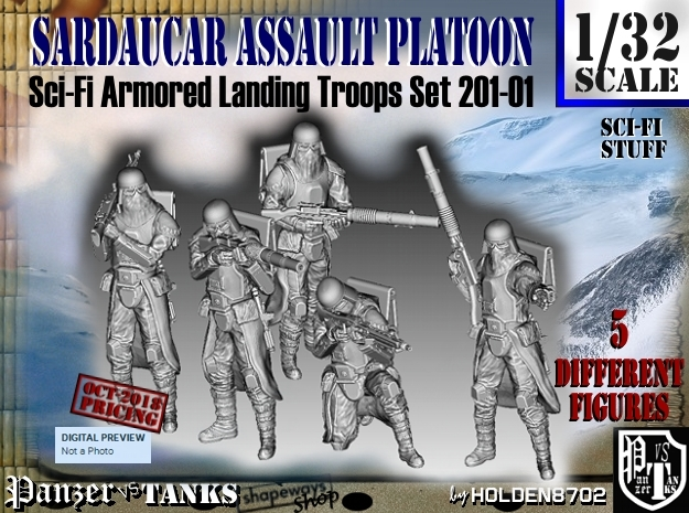 1/32 Sci-Fi Sardaucar Platoon Set 201-01 in Smooth Fine Detail Plastic