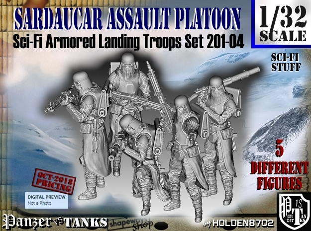 1/32 Sci-Fi Sardaucar Platoon Set 201-04 in Smooth Fine Detail Plastic