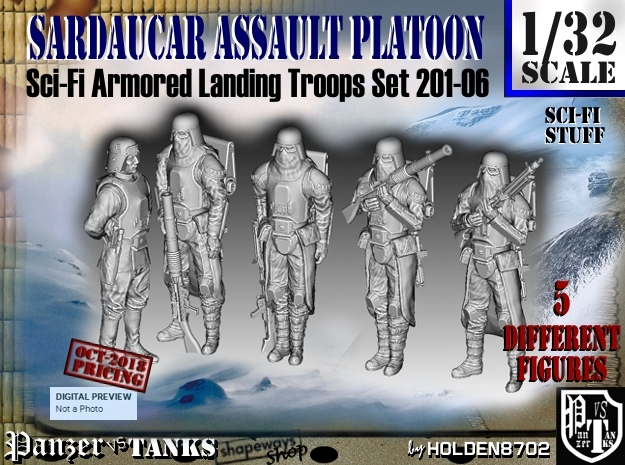 1/32 Sci-Fi Sardaucar Platoon Set 201-06 in Smooth Fine Detail Plastic