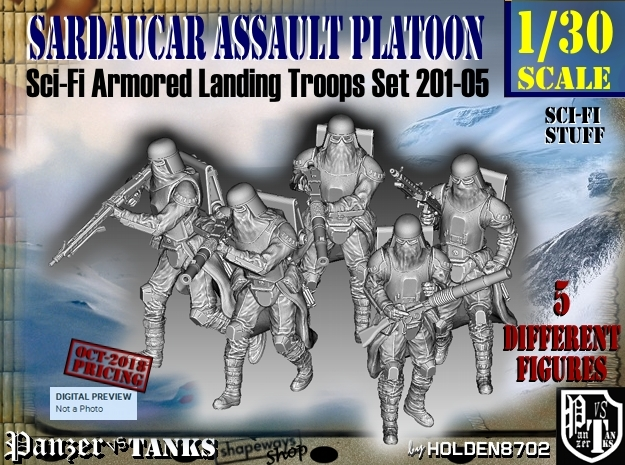 1/30 Sci-Fi Sardaucar Platoon Set 201-05 in Smooth Fine Detail Plastic