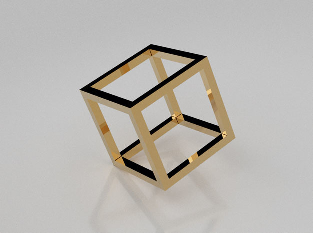 11:11 Cube pendant in 14K Yellow Gold