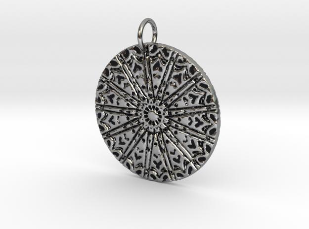 Heart Carnival Pendant in Antique Silver: Medium