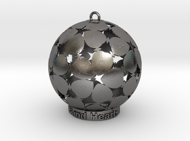 Stars and Hearts Inscense holder in Polished Nickel Steel: Medium
