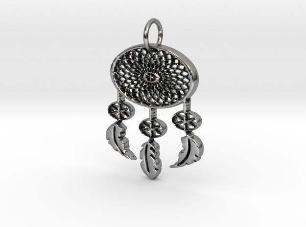 Dreamcatcher Pendant in Antique Silver: Large