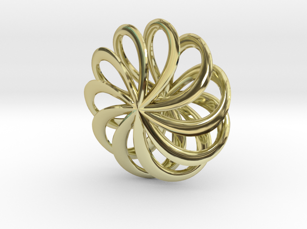 Floral Pinwheel Pendant 65 in 18k Gold Plated Brass