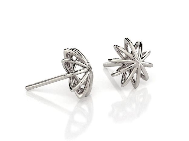 Sea Urchin Earrings 10 mm in Polished Silver