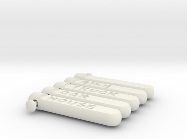 keychain tag cylindricalish short set 2 in White Natural Versatile Plastic