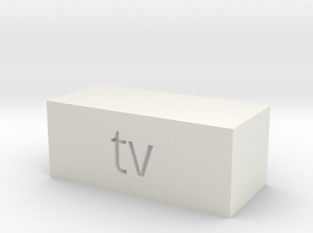 Quad 33 TV Button in White Natural Versatile Plastic