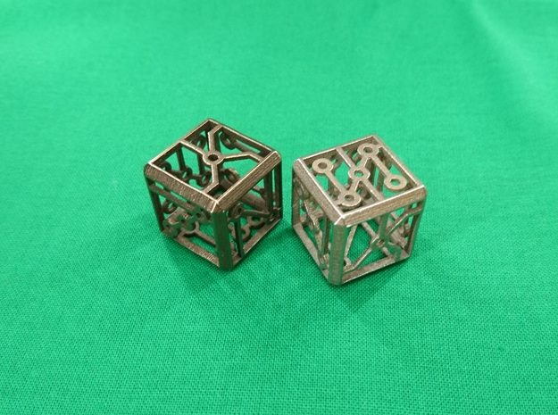 Singing Vertex Dice in Polished Bronzed-Silver Steel