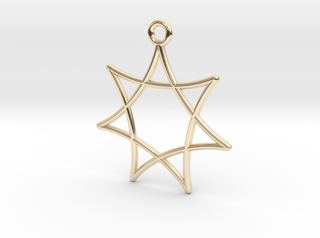 Spirograph Star Pendant, 7 Points in 14K Yellow Gold