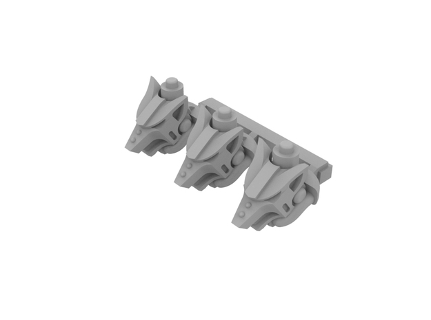 Miniature scale - Iron Wolf Head (3pc) in Smoothest Fine Detail Plastic