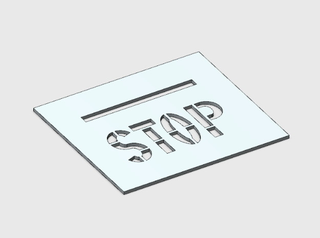 Stop on Pavement Template in White Natural Versatile Plastic: 1:87 - HO