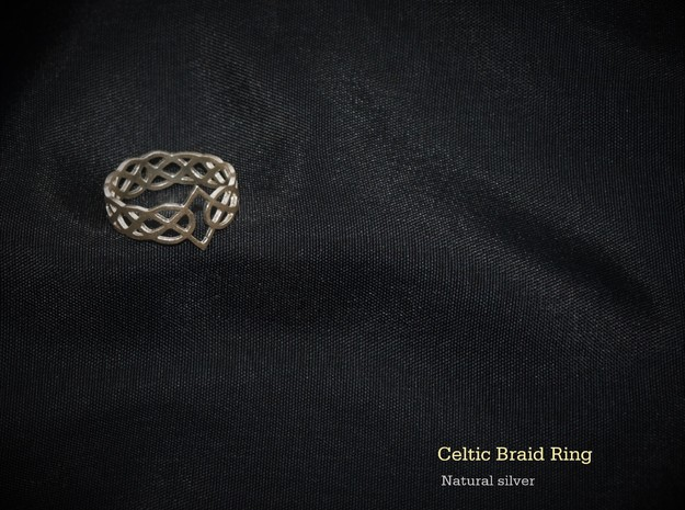 Celtic Braid Ring in Natural Silver: 7 / 54