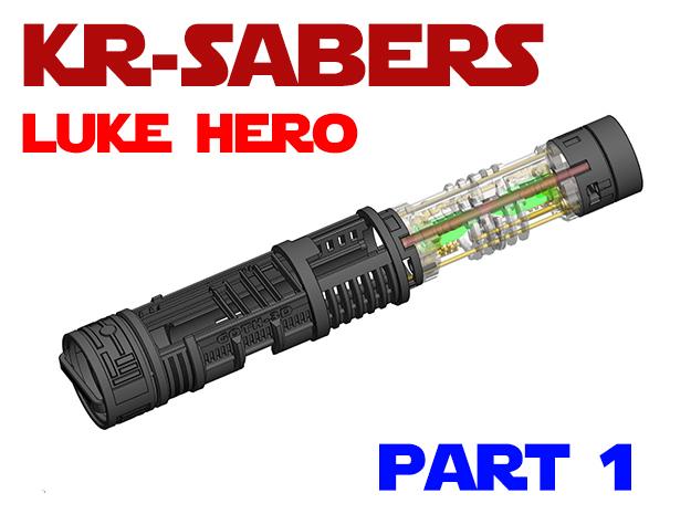 KR Luke Hero - Part1 Lightsaber Chassis in White Natural Versatile Plastic