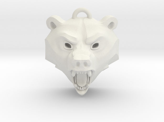 Bear Medallion (solid version) medium in White Natural Versatile Plastic: Medium