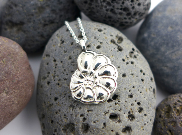 Hyalinea Foraminiferan Pendant  in Polished Silver