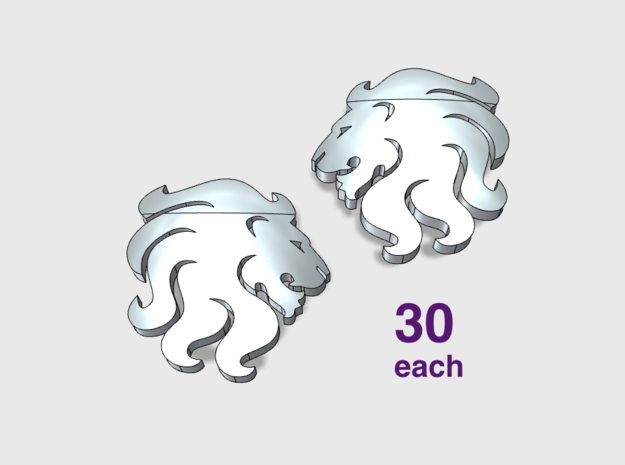 60x Celestial Lions : Shoulder Insignia pack in Smooth Fine Detail Plastic