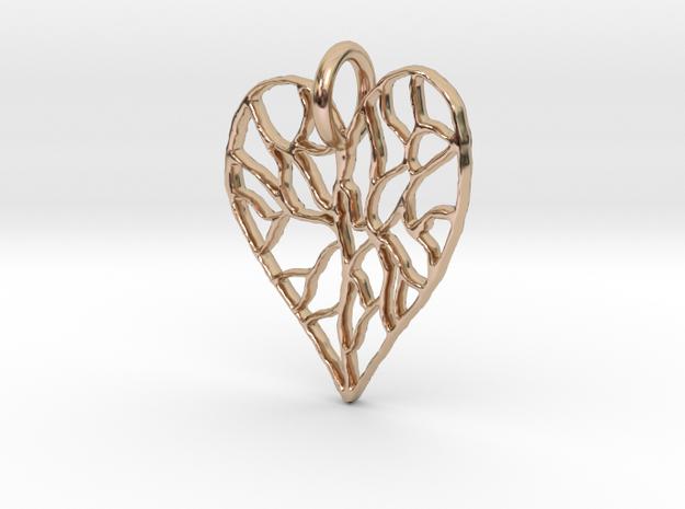 Cracked Heart Pendant in 14k Rose Gold