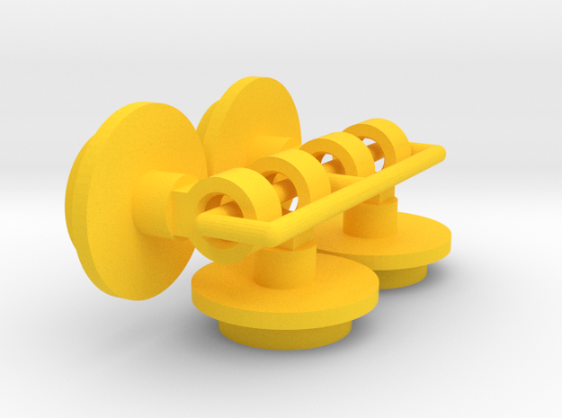 (x4) Boomerang / Thundershot Tamiya Damper Ends in Yellow Processed Versatile Plastic