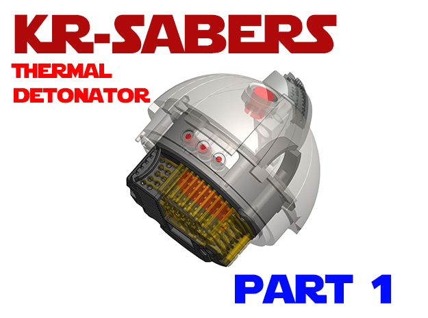 KR-Sabers - Thermal Detonator Chassis Part1 in White Natural Versatile Plastic