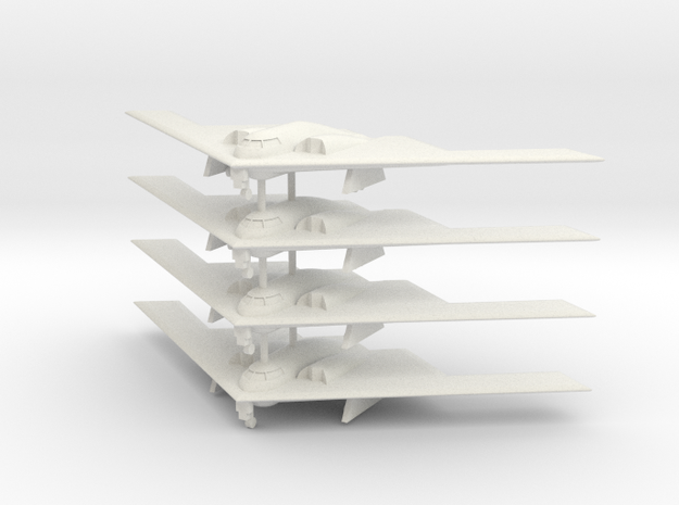 1/500 B-2 Spirit (Landing Gear Down) (x4) in White Natural Versatile Plastic