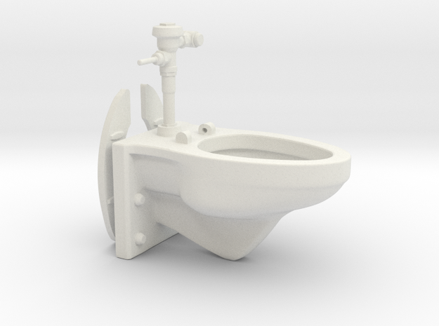 1:18 Scale Toilet - Articulated Wall Mounted Manua in White Natural Versatile Plastic