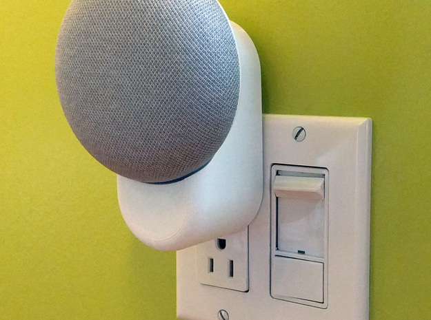 Clean & Minimal Google Home Mini Outlet Mount in White Natural Versatile Plastic