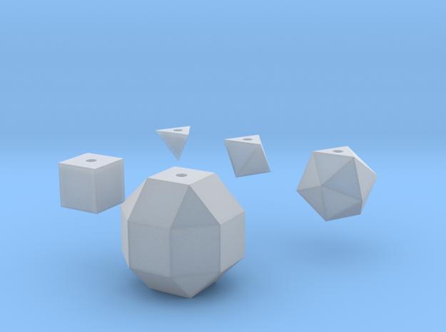 Basic geometric shapes D4 D6 D8 D20 D26 (hollow) in Smooth Fine Detail Plastic