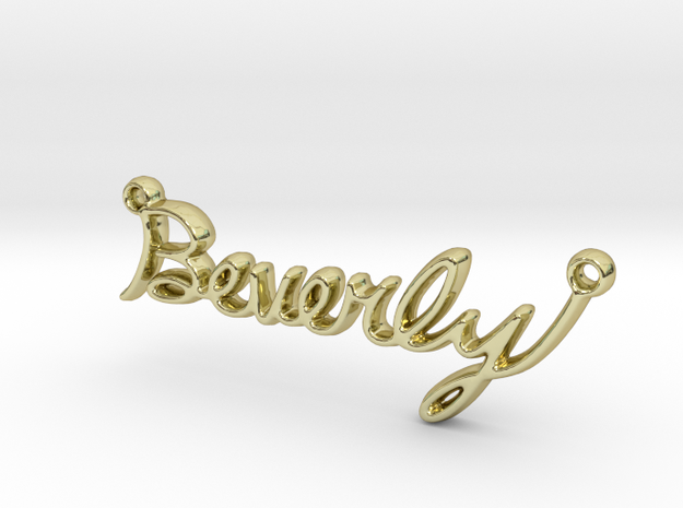 Beverly Script First Name Pendant in 18k Gold Plated Brass
