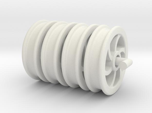 Dinorwic Wagon Wheels Set x4 (SM32) in White Natural Versatile Plastic