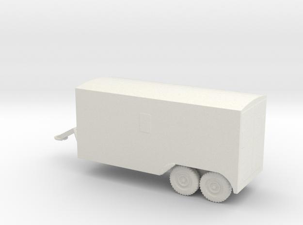1/100 Scale 6x6 Jeep Van Trailer in White Natural Versatile Plastic
