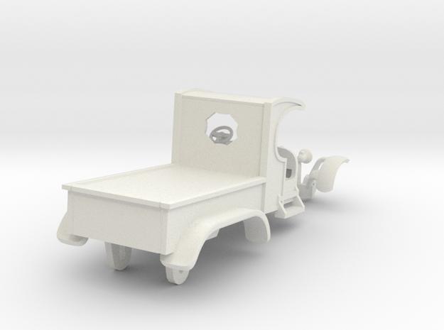 C-Cab 2-Axle Flatbed Hotrod - T-Jet in White Natural Versatile Plastic