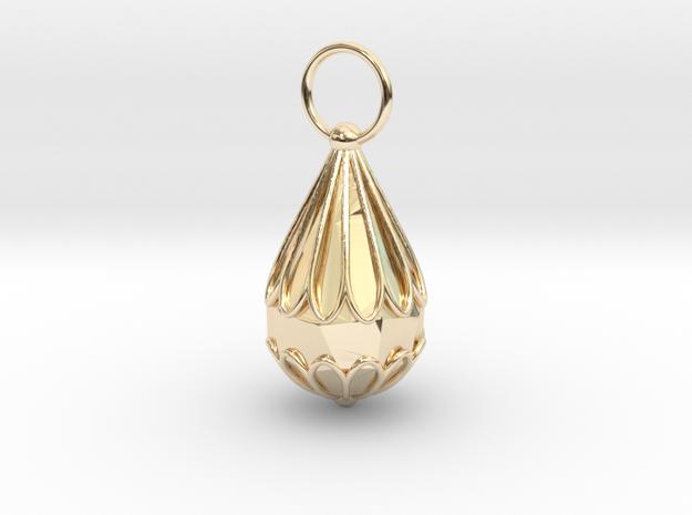 The Small Chrysanthemum Jewelry Pendant in 14k Gold Plated Brass: Medium