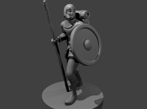 Cleric with Staff of Healing and Shield in Smooth Fine Detail Plastic