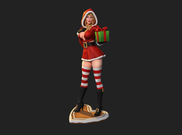 Sandra Claus w/ present in Natural Full Color Sandstone