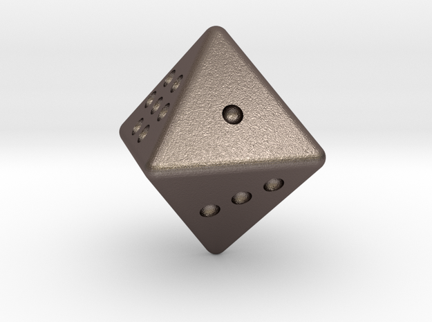 D8 dice  in Polished Bronzed-Silver Steel