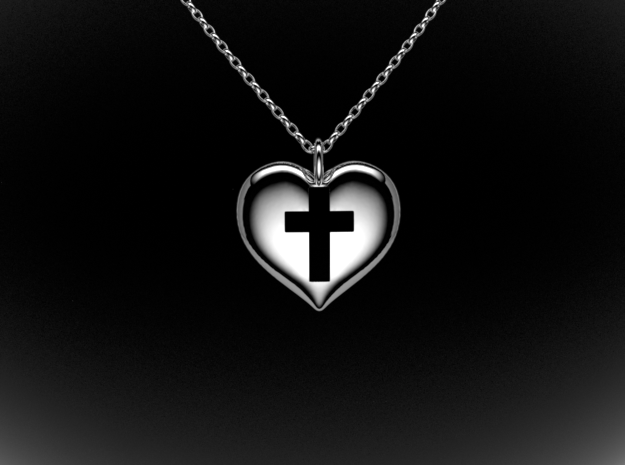 Crossheart2 in Polished Silver