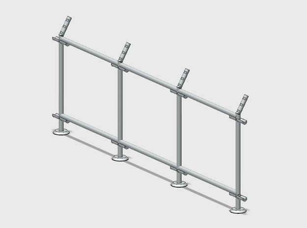 10' Straight Fence Frame, 3-Bays (3 ea.) in White Natural Versatile Plastic: 1:87 - HO