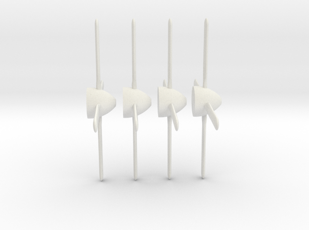 P-51 Mustang propeller x4 1/100 in White Natural Versatile Plastic: 1:100